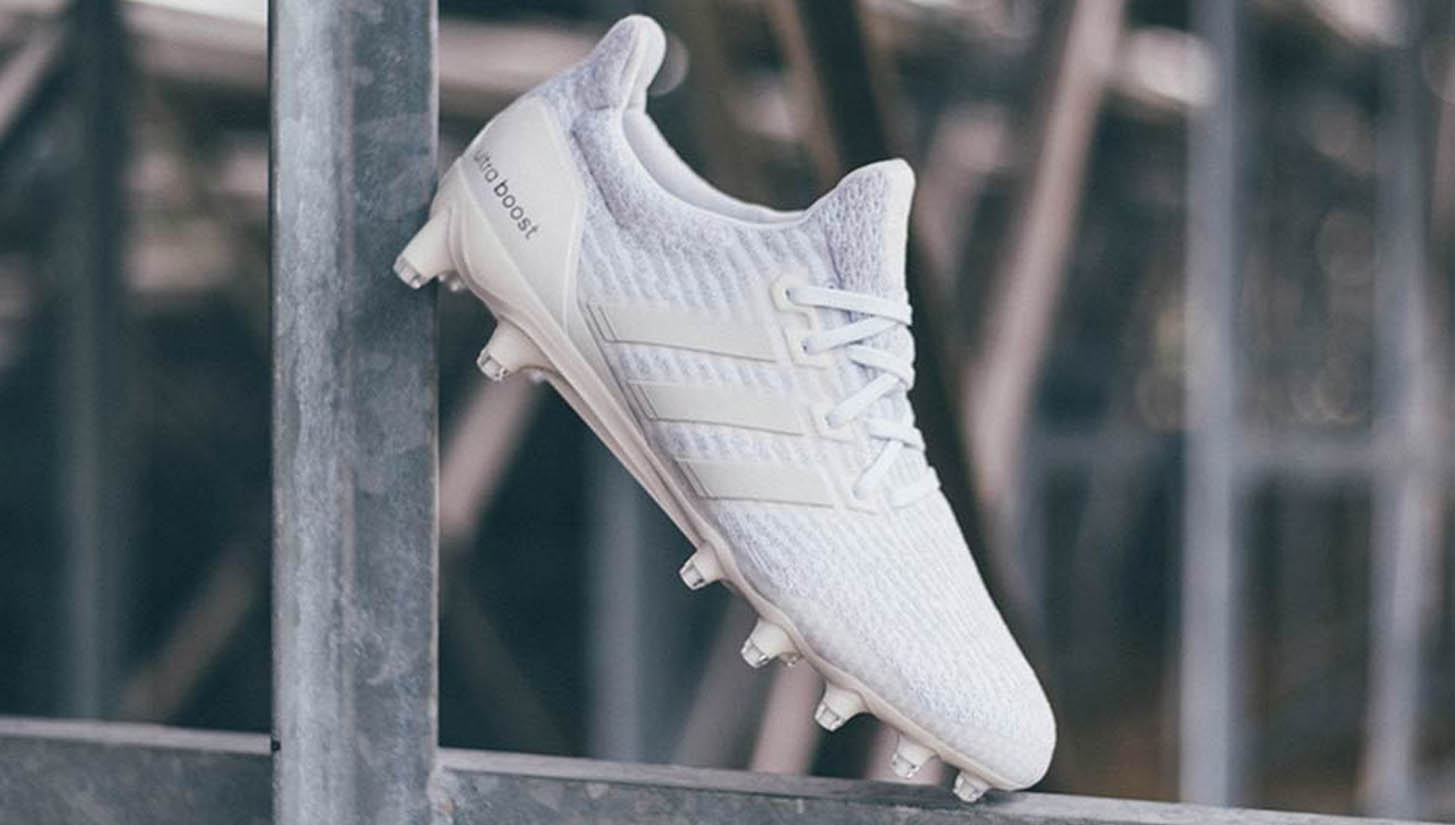 big sale 13407 361db adidas Unveil Triple White Ultra Boost Cleats - SoccerBible