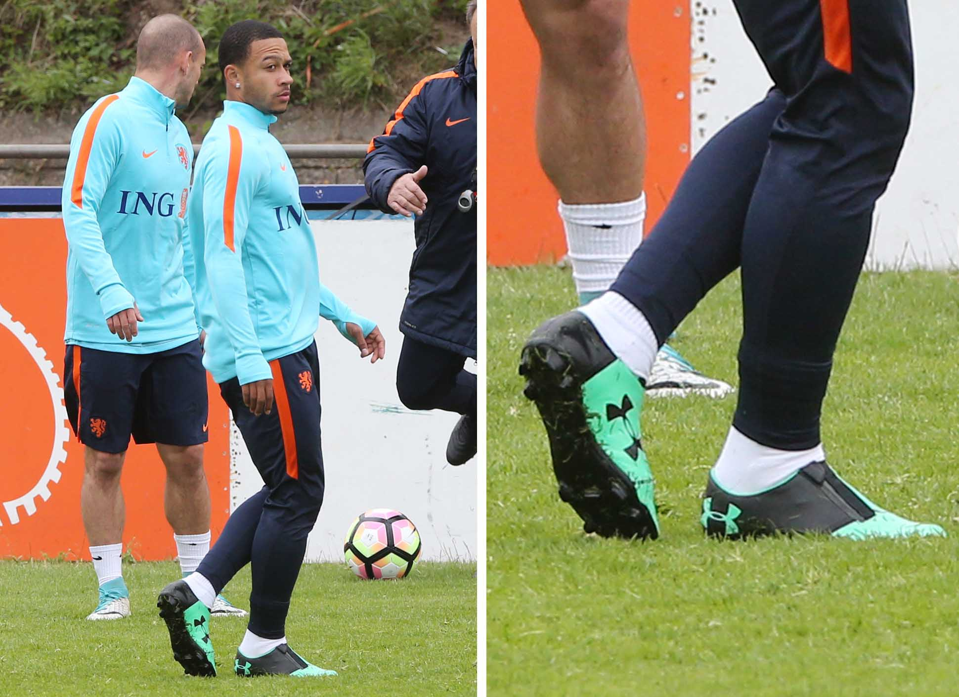 Memphis Depay Trains In Unreleased Under Armour Zip Football Boots