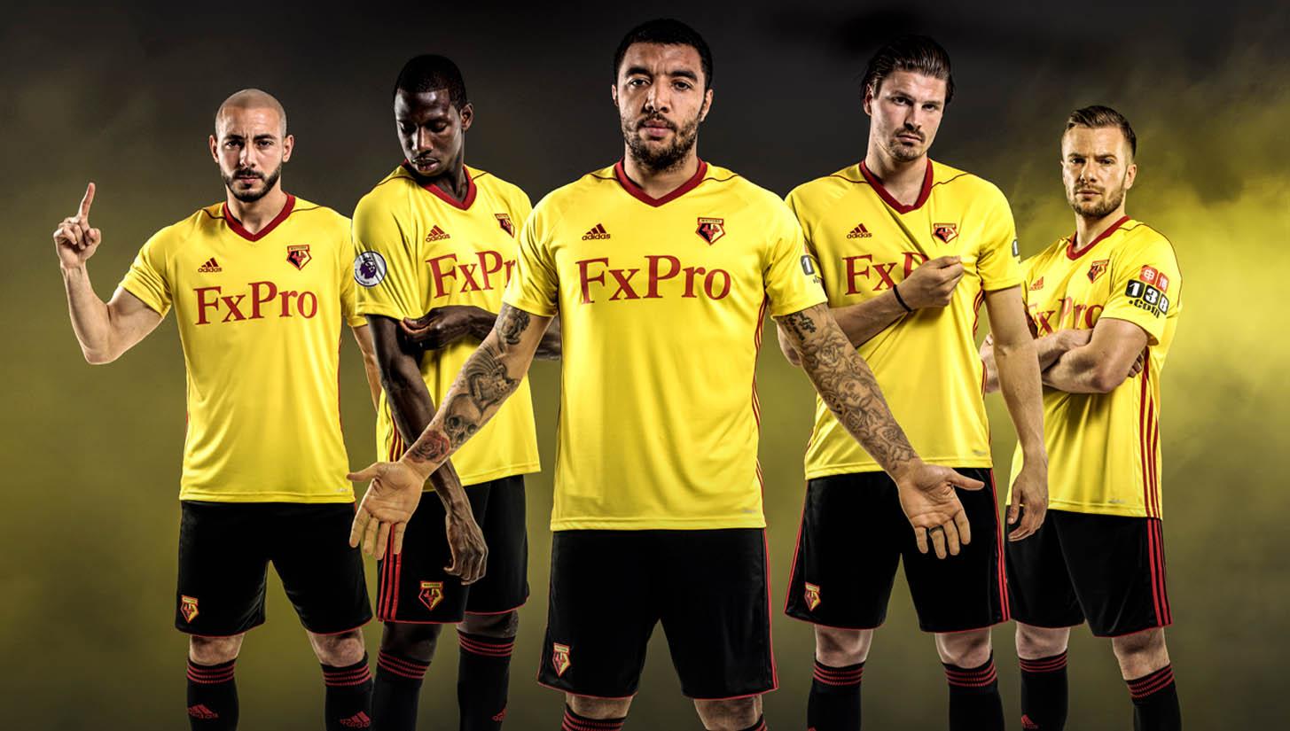 4641ce8b9e1 Watford 2017 18 Home Kit by adidas. Football Apparel