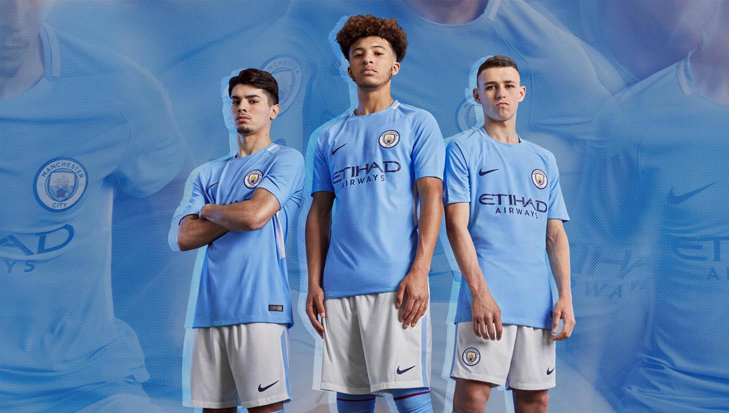 345ada3d0e2 Man City 2017 18 Home Kit by Nike - SoccerBible
