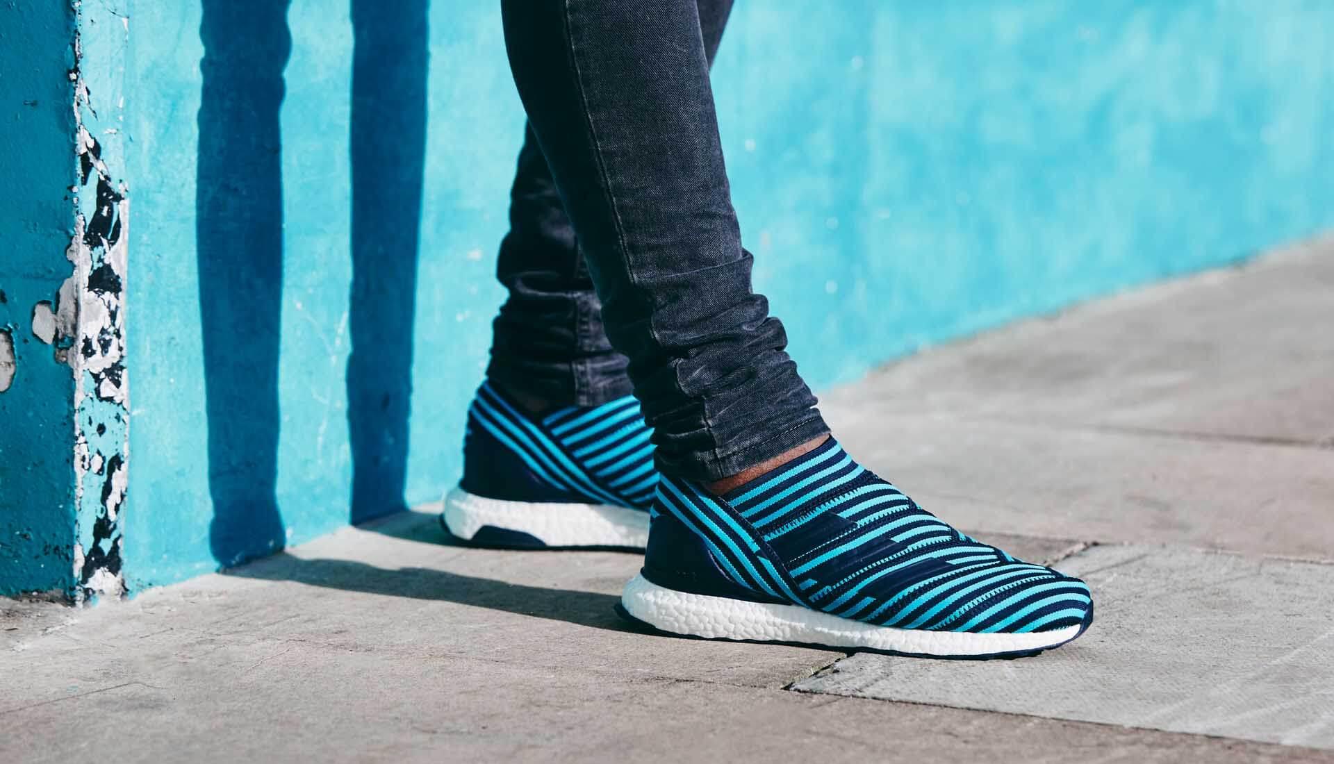 c2644cf4338aa adidas Nemeziz 17+ UltraBOOST Ocean Storm Sneakers - SoccerBible