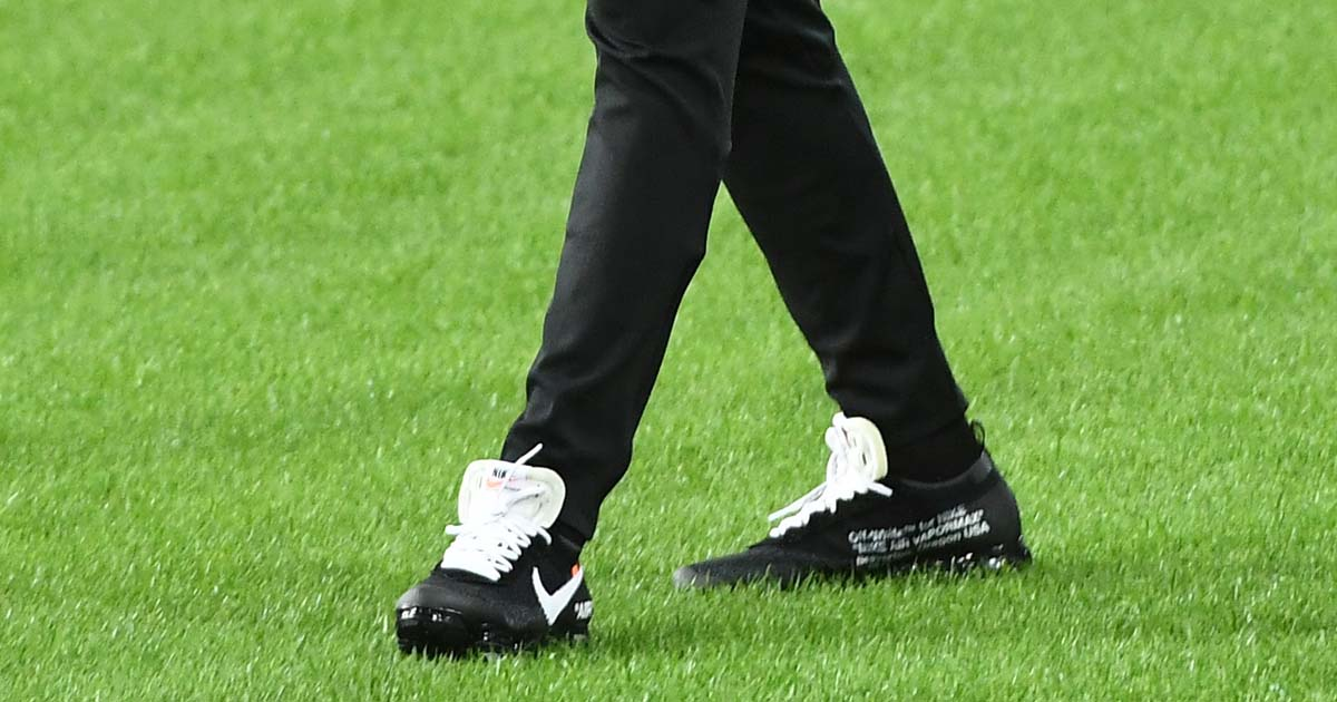 best sneakers a5b8f 9ff27 Kylian Mbappe Wears Off White x Nike Air VaporMax - SoccerBible