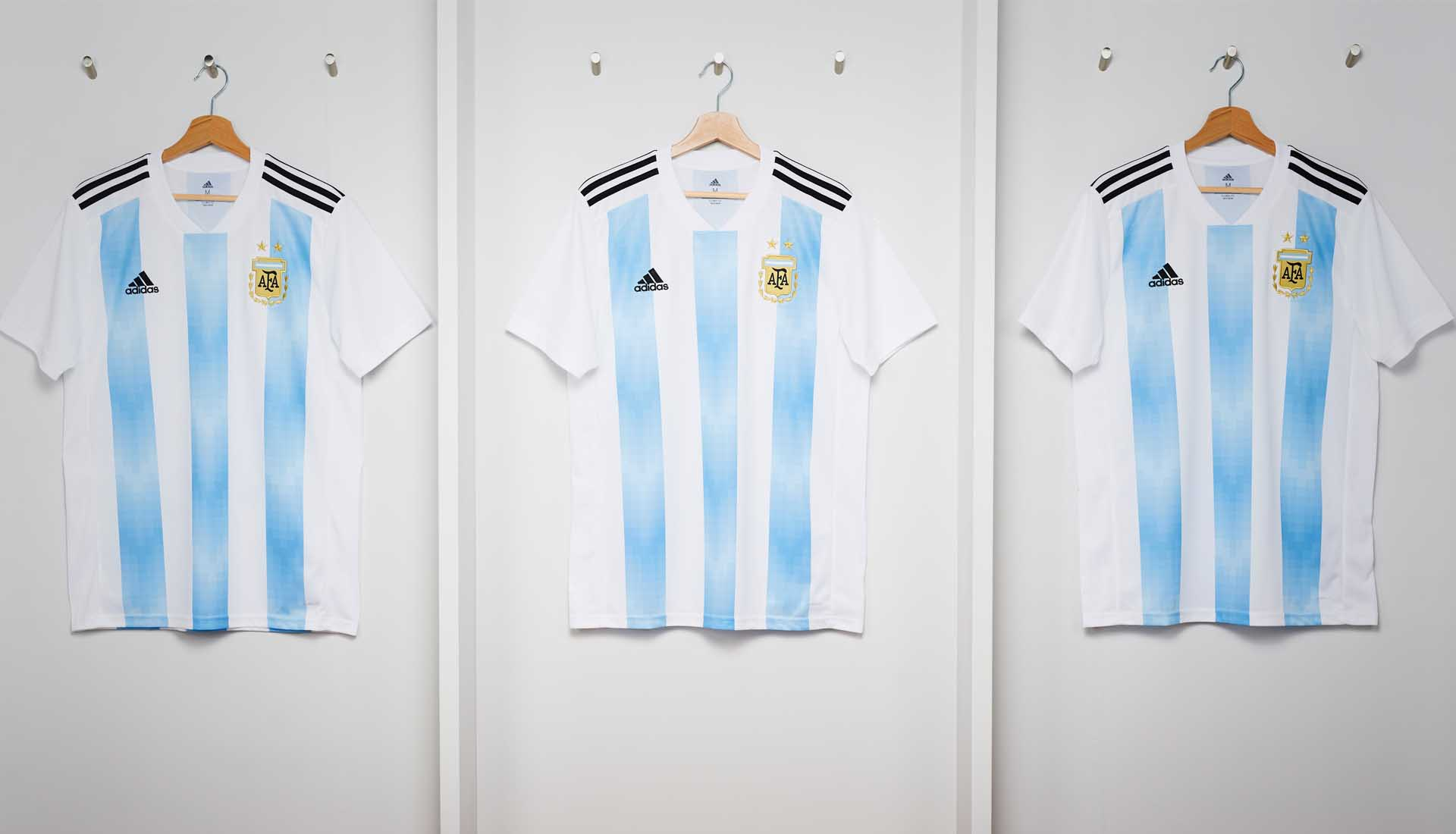 4c89e0a7c The Argentina 2018 World Cup kit pays tribute to the anniversary by subtly  incorporating laurels, a key element of the Argentinian coat of arms and  the AFA ...