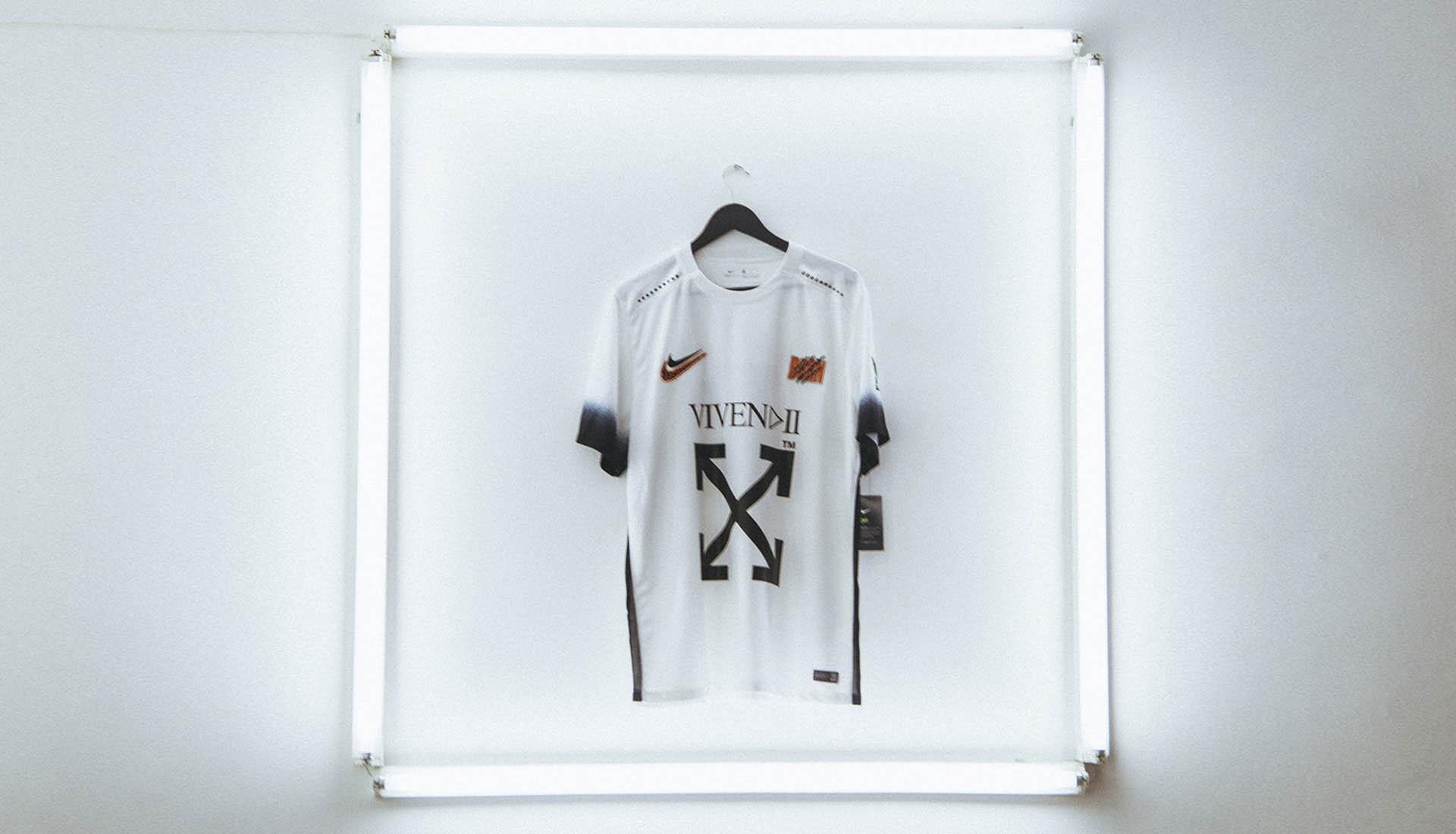 6859dcb8457 Off-White x Vivendii Showcase Exclusive Nike Football Shirt - SoccerBible.