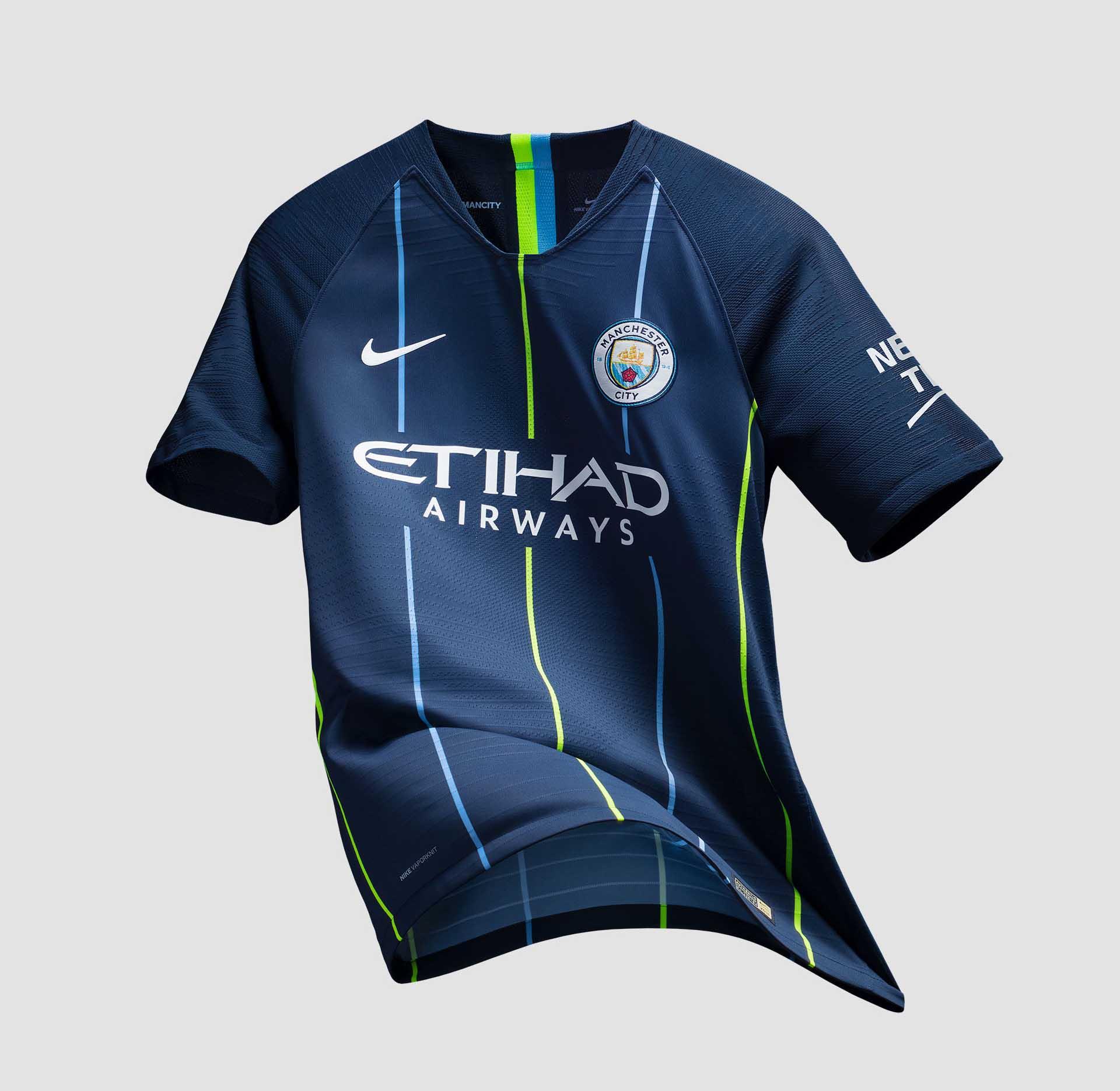 3998d0bc00b Nike Launch Man City 18 19 Away Kit - SoccerBible