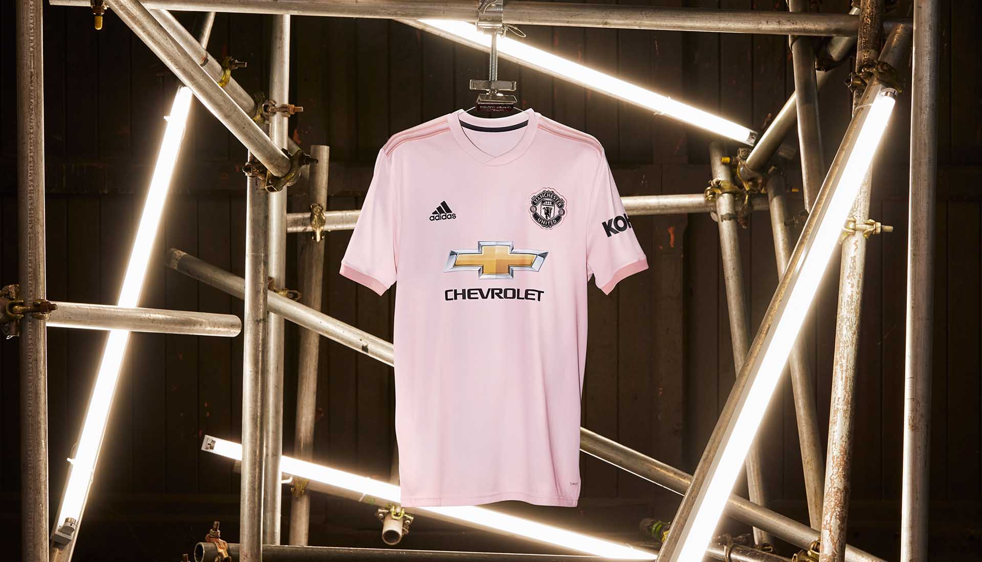 8b73345b5e6 adidas Launch The Manchester United 18 19 Pink Away Kit - SoccerBible