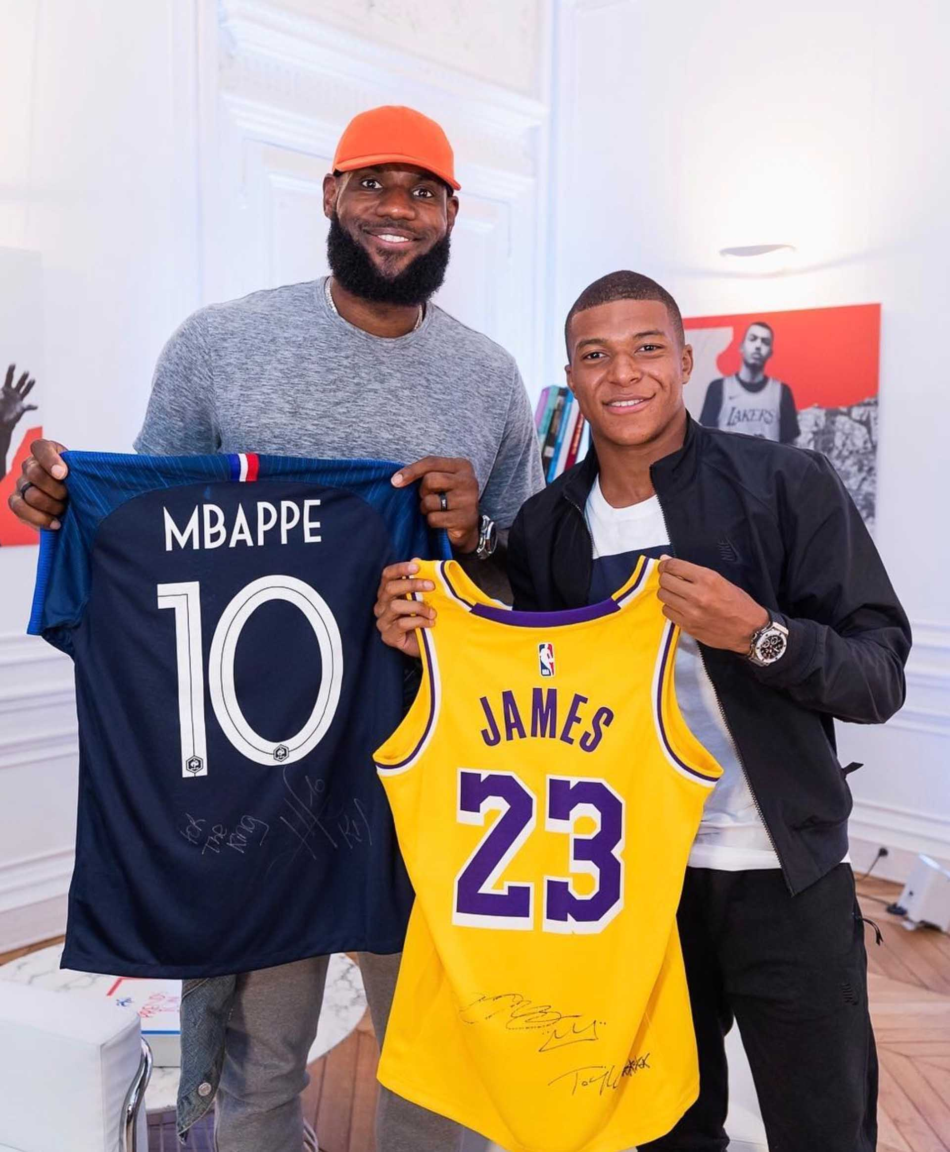the latest fac7e ecebf Mbappe & LeBron Link Up in Paris - SoccerBible