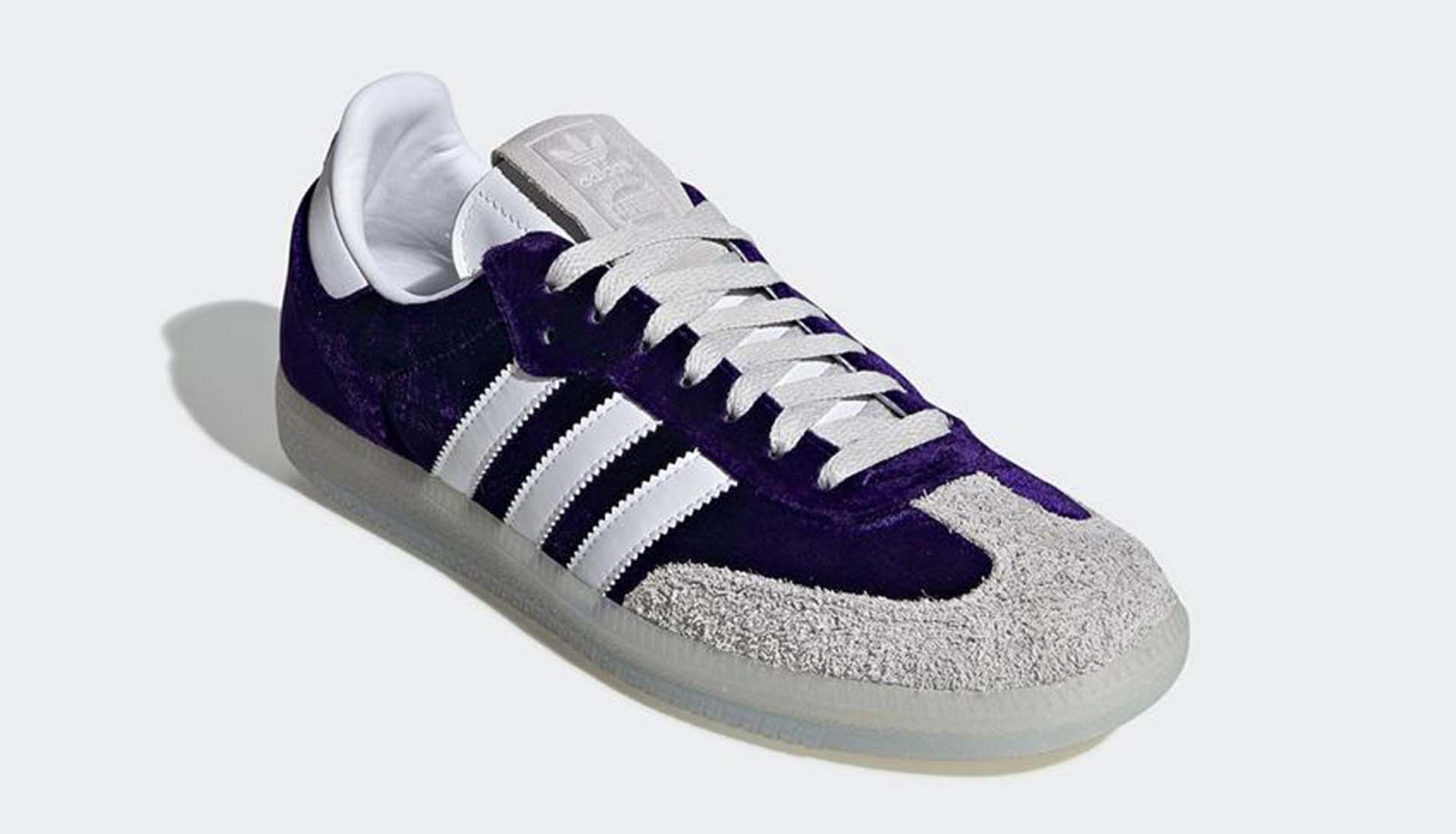 """1ab90e88f Coming in a deep purple velvet upper that's complemented by classic suede  overlays to complete the deluxe feel, the Samba OG 420 features the numbers  """"4"""" ..."""