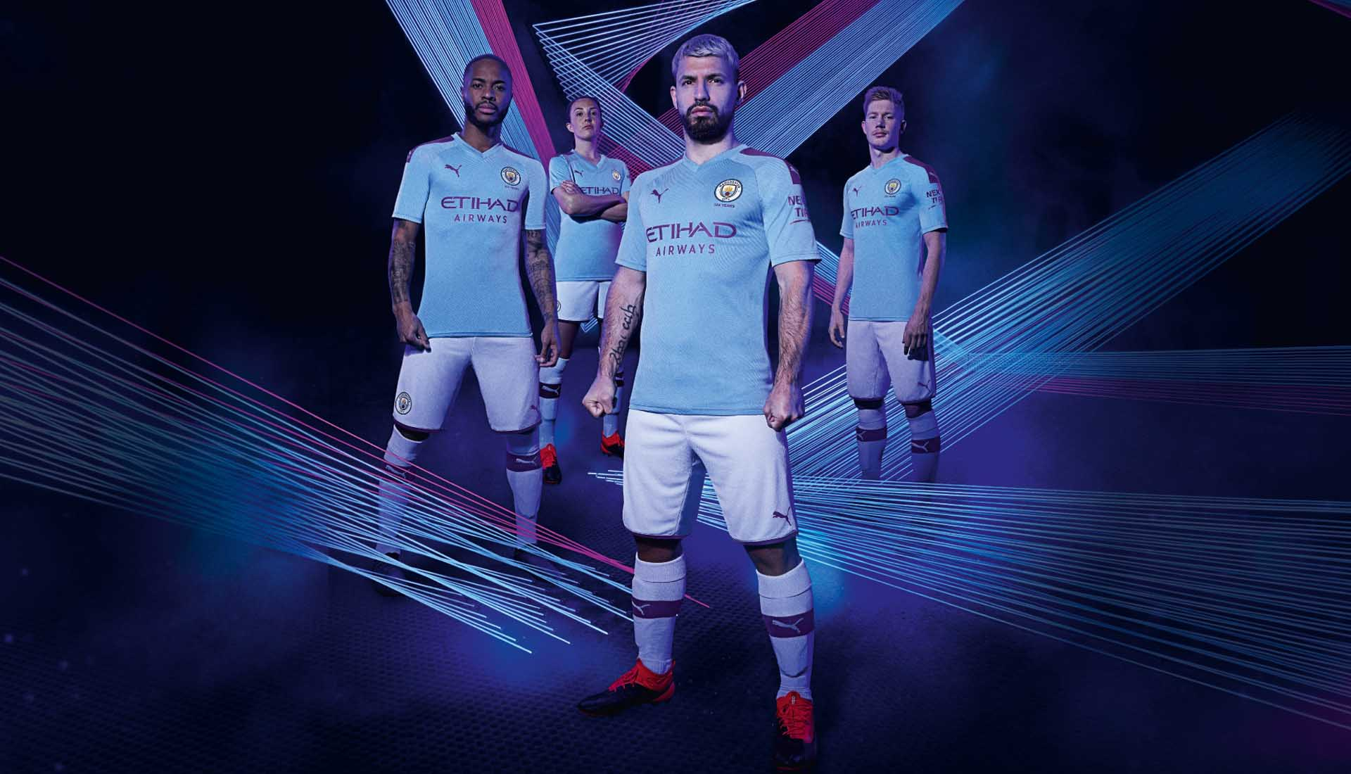 buy online 59044 0dd38 PUMA Launch Man City 2019/20 Home & Away Kits - SoccerBible